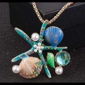 Sea shells starfish pearls beach necklace chain